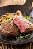 Beef Steaks. As closeup in a cast pan Royalty Free Stock Image