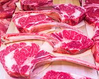 Beef steaks at the butcher store. Stock photo of beef steaks at the butcher store Royalty Free Stock Photos