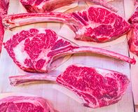 Beef steaks at the butcher store. Stock photo of beef steaks at the butcher store Royalty Free Stock Photography