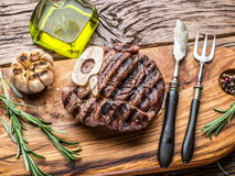 Beef steaks  with spices. Royalty Free Stock Images