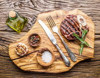 Beef steaks  with spices. Stock Image