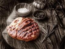 Beef steaks  with spices. Royalty Free Stock Photo