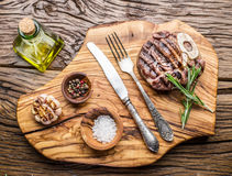 Beef steaks  with spices. Royalty Free Stock Image