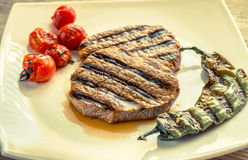 Beef steaks on the white square plate Stock Photos
