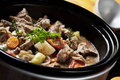 Beef Stew. In a slow-cooker, ready to serve Royalty Free Stock Images