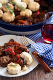 Beef stew. With paprika and biscuits, selective focus Stock Image