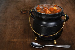 Beef stew in black pot Stock Photo