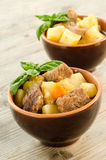 Beef stew and boiled vegetables Stock Photos