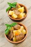 Beef stew and boiled vegetables Royalty Free Stock Images