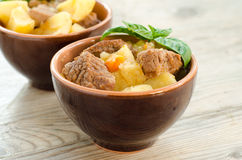 Beef stew and boiled vegetables Stock Photo