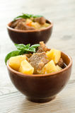 Beef stew and boiled vegetables Royalty Free Stock Photos