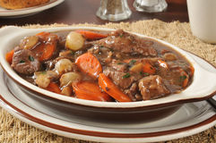 Beef stew bourguignon closeup Royalty Free Stock Photography