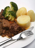 Beef stew and broccoli Stock Photos