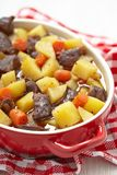 Beef stew in casserole dish Royalty Free Stock Image