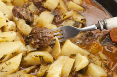 Beef stew in casserole dish. Stock Photo