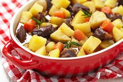 Beef stew in casserole dish Stock Image