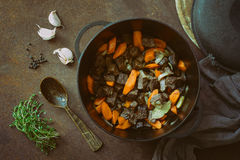 Beef stew in a cast iron pan Stock Photos