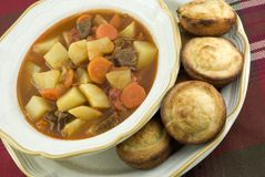 Beef Stew with Cornbread Muffins Stock Photos