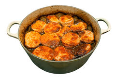 Beef Stew and Dumplings. In a pan on an isolated white background Stock Photography