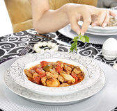 Beef stew with french fries salad Stock Photo
