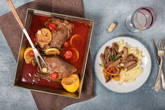 Beef stew with mashed potatoes and glass of red wine Royalty Free Stock Photos
