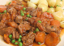 Beef Stew with New Potatoes. Casseroled beef stew with vegetables Royalty Free Stock Photo