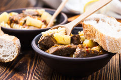 Beef stew with noodles and potatoes Royalty Free Stock Photo