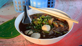 Beef stew noodles in soup asian style, mix noodles. The beef stew noodles in soup asian style, mix noodles Stock Image