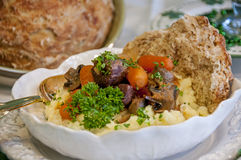 Beef stew over mashed potato Royalty Free Stock Photos