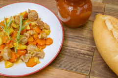 Beef stew. Pork stew with vegetables Royalty Free Stock Photography
