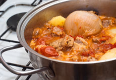 Beef stew in the pot Stock Photo