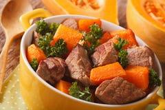 Beef stew with pumpkin macro in a pot. Horizontal Stock Image