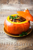 Beef stew in pumpkin Stock Images