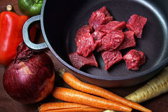 Beef Stew raw ingredients Royalty Free Stock Photography