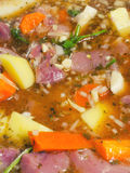 Beef stew in raw state inside pot at start of cooking pot Stock Photography