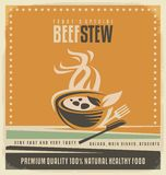 Beef stew retro poster layout Royalty Free Stock Image
