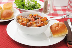 Beef stew and salad Royalty Free Stock Photography