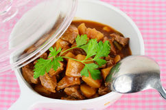 Beef Stew in Serving Bowl Stock Photo