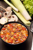 Beef stew soup on a wooden background Stock Photo