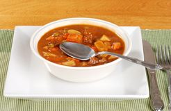 Beef stew with a spoon Stock Image