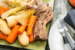 Beef stew and vegetable, pot au feu Stock Photo