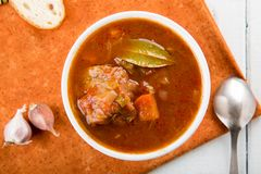 Beef stew with vegetables. Goulash soup royalty free stock photo