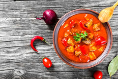 Beef stew with vegetables or goulash, traditional hungarian meal Stock Photo