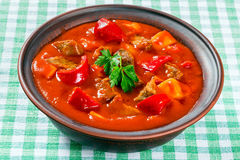 Beef stew with vegetables or goulash, traditional hungarian meal Stock Image