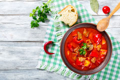 Beef stew with vegetables, goulash, traditional hungarian meal, Royalty Free Stock Images