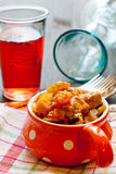 Beef stew. With vegetables in a portion dish royalty free stock image