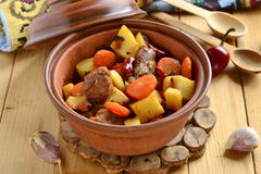 Beef stew with vegetables in a pot Royalty Free Stock Photo