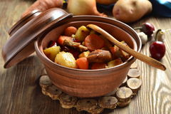 Beef stew with vegetables in a pot Royalty Free Stock Photography