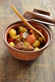 Beef stew with vegetables in a pot Royalty Free Stock Image