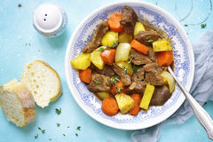 Beef stew with vegetables and thyme.Top view. stock images